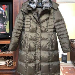 NWT $198 LONDON FOG CHEVRON COAT W/FAUX FUR MEDIUM